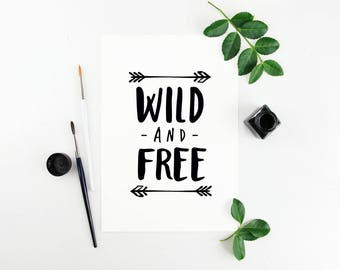 "Nursery Art Print, ""Wild and Free"", Cute Wall Art"