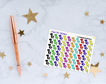Push Pin Planner Stickers, Push Pin Stickers, Pin Stickers, Reminder Stickers, Vinyl Stickers