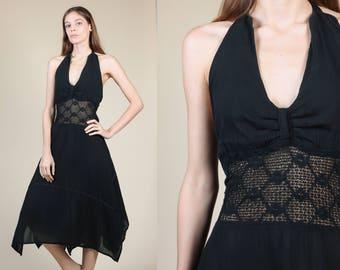70s Crochet Hippie Dress - XS/Small/Medium // Vintage Black Boho Handkerchief Hem Halter Dress