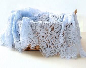 1.5 meter long 1.4 meter blue eyelash mesh fabric lace trim ribbon tapes 4762 1024 free ship