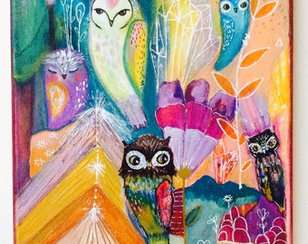 Owl sacred place - Original painting, whimsical, canvas art, mixed media art, colorful painting, owl spirit animal, altar, wall art