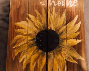 Welcome To Our Home Sunflower Wooden Sign