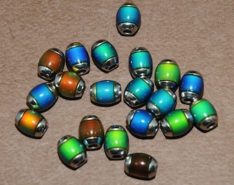 Mood Beads - Color Changing - Barrel Mood Bead -  6x9mm - With Large Metal Grommet Hole -10 Pieces