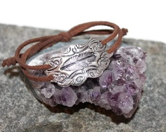 Womans Boho statement Bracelet, in Fine silver, suede, statement,hippie, elegant, rocker, artisan, cuff, soutwestern, Free shipping!