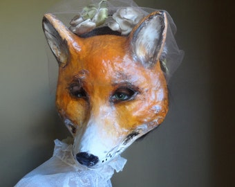 She so lovely Paper mache fox mask fox costume
