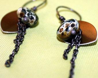 Long Chain Rustic Dangle Earrings aluminum sterling silver czech glass