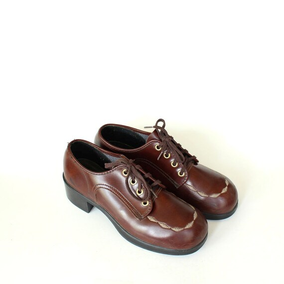 platform boys oxford size 1960s with womens shoes round toe vintage shoes 5 oxfords 6 6 4 or 1970s 5 brown size vinyl WY8AndTq