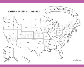 Travel Map of America Colouring Page, Digital Download PDF, Adventure Scratch Map, Colouring Page Achievement Map, Gift for Travel Lovers