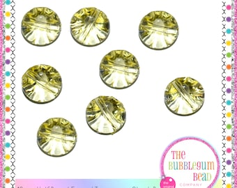13mm YELLOW TRANSPARENT HALF Round Buttons, Kawaii Button, Qty 20, Notions, Buttons, Shank Buttons, Whimsical Buttons, The Bubblegum Bead Co
