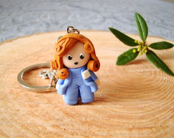 nurse gift helps medical paramedic docteresse pediatrician - key nurse polymer red hair - handmade keyring