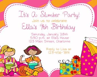 Slumber party birthday party invitation -  slumber party, sleepover pajama party -  girls birthday party invitation - You print or I print