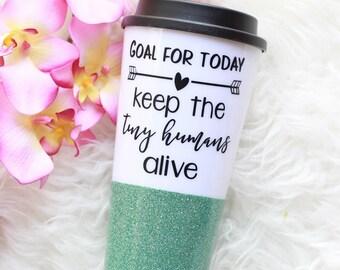 Glitter Travel Mug, Mom Mug, Glitter Mug, Preschool Teacher Mug, Nanny Mug, Travel Mug, To Go Mug, Glitter Cup, Teacher Cup, Mother's Day
