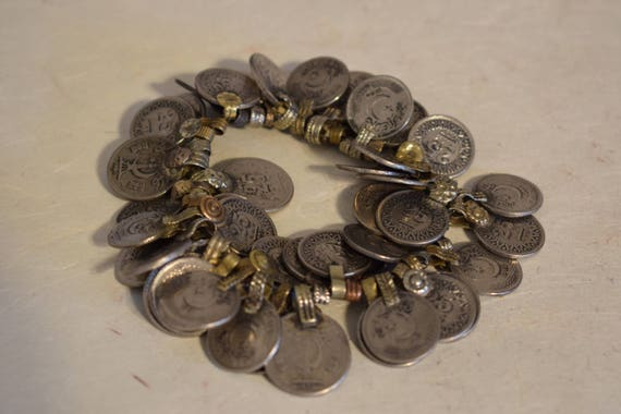 Coins Silver Kuchi Middle East Handmade Coins Jewelry  Belly Dancing Crafts 40 Lot Silver Coins