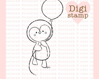 Penguin Balloon- Digital Penguin Stamps - Birthday Stamp - Digital Birthday Stamp - Penguin Art - Penguin Card Supply - Penguin Craft Supply
