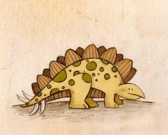 Stegosaurus Dinosaur Print 8x10