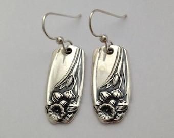 Silver Dangle Earrings Daffodil 1950 Vintage Silverplate Spoon Jewelry