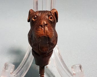 RARE Antique Carved Dog Cane Head with Glass Eyes