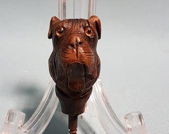 RARE Antique sculpté: canne à tête de chien avec des yeux de verre