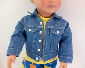 18 inch Doll Clothes  Blue  Denim Jean Jacket to fit American Girl or Boy Doll