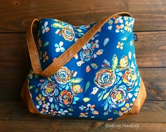 The Snoho Slouch Bag - Teal Boho Floral with Vegan Leather