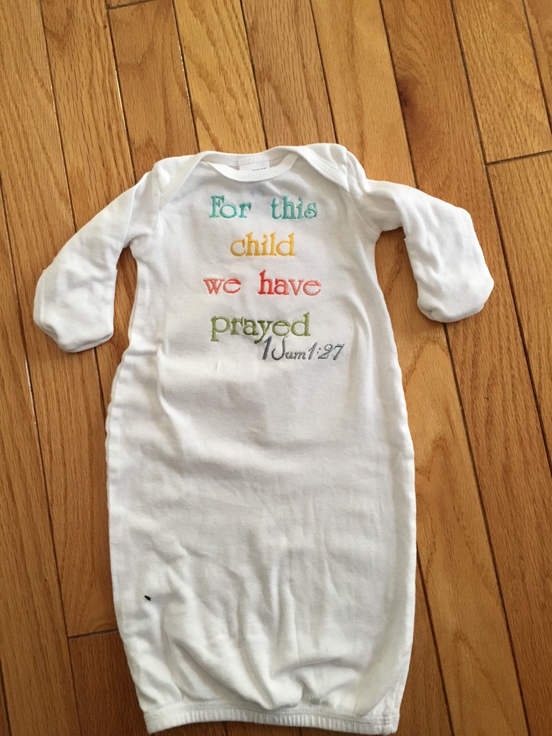 Baby gown embroidered with For this child we have prayed scripture ...