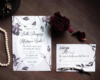 Gothic wedding invitation, victorian wedding, halloween, floral watercolor wedding suite, Invitation, info card, rsvp, printable set, noir