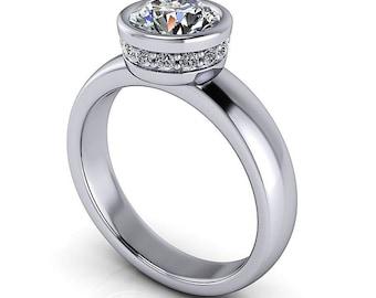 Bezel Set Solitaire Moissanite Engagement Ring