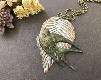 Sparrow Necklace, Bird Necklace, Leaf Pendant, Bird Wings, Wildlife, Verdigris Bird, Woodland Bird, Feathers, Bird Lover Gift, Long