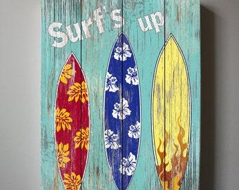 Surf Kids Room Decor - Beach Wall Art, Vintage Kids Beach Decor, 10x12 Canvas Art , Boys Room Surf Decor , Beach Kids art