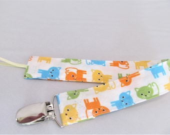 Universal Fabric Pacifier & Toy Clip - Kitty Kitty in Bermuda - Neutral - Paci Clip, Teether Clip, Binky Clip, Baby Shower Gift