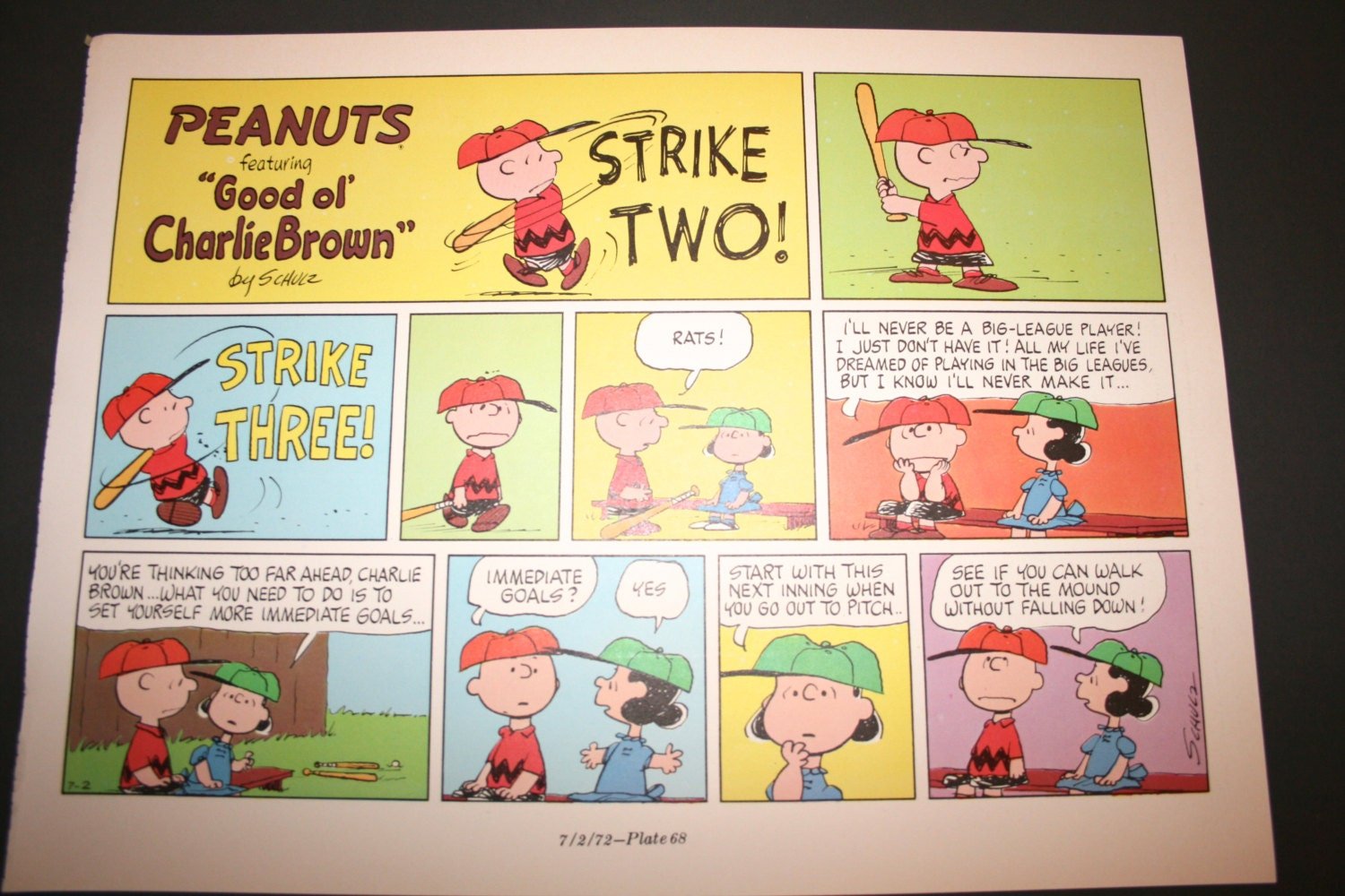 Charlie Brown comic Three strikes you\'re out Comic