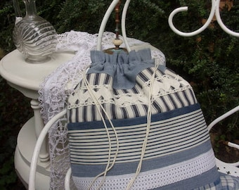 bag all uses, in antique cotton ticking