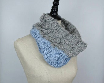 Knit Cowl, Grey and Blue Circle Scarf, Customize, Warm Cable Knit Pattern, Hand Knit Neck Warmer, Gift Idea, Winter Accessory