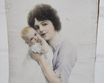 Vintage Mother and Infant Photograph, Hand Colored, Antique, Home Decor, Nursery ON SALE!