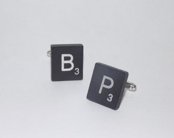 Black and Silver Scrabble Tile Cuff Links - Scrabble Cufflinks