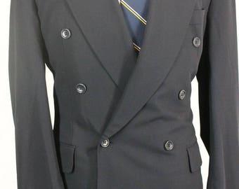 Vintage 38R Hugo Boss Saks 5th Navy Blue Double Breasted Men's Sport Coat Blazer NO7