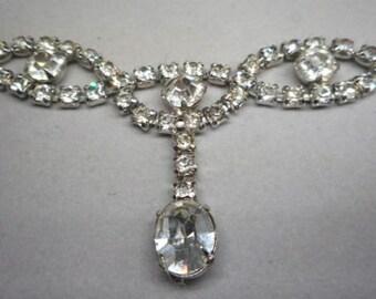 Art Deco Rhinestone Lavaliere Necklace circa 1930