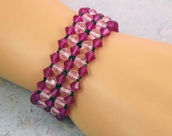 Beadwork Pink Crystal Bracelet Magnetic Clasp Double Wide Right Angle Weave