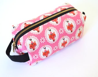 Pink Sassy Cats Small Boxy Bag  - Makeup Bag / Pencil Bag/Art Supply Bag