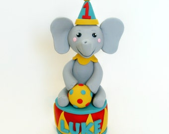 Circus Theme Elephant Birthday Cake Topper with Party Hat and Ball