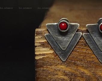 Red coral earrings Stick earrings Oxidized Sterling silver earrings