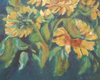 Vintage Oil Still Life of Flowers