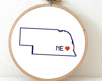 NEBRASKA Map Cross Stitch Pattern. Nebraska art pattern with Lincoln. Nebraska ornament pattern. NE decor. Wedding gift. Nebraska state