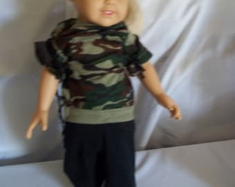 """18"""" doll Camo outfit with Backback for child and doll 356E"""