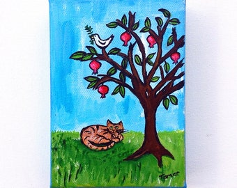 Pomegranate Tree, Peace Dove & Cat, Original Acrylic Painting, Painting on Canvas, Shalom Artwork, Peace Dove with Olive Branch, Judaica Art