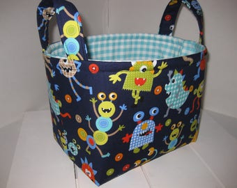 Navy Green Red Monsters Fabric Organizer Bin / Easter Basket / Diaper Caddy - Personalization Available