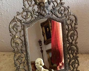 Sale Antique Vintage Ornate Brass Mirror Face of Greek God Frames Home Decor