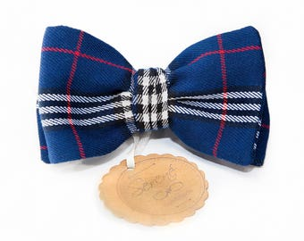 Blue tartan bow tie, Scottish fabric, self tie bow tie or pre tied, child or mens bow tie, blue bow tie with red white black lines, wedding