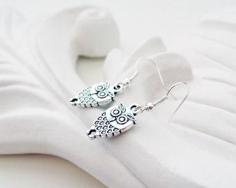 Silver Owl Earrings   Woodland Earrings