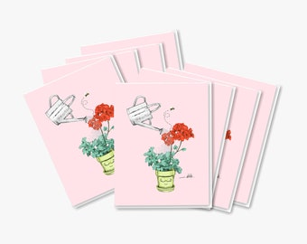SET OF 8 Happy Plant Cards